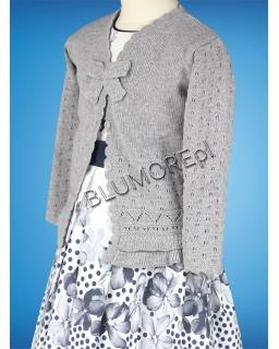 Uroczy popielaty sweterek dla dziewczynki 56 - 104 Migotka
