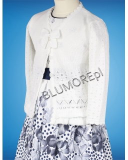 Biały sweterek dla dziewczynki na albę 56 - 104 Migotka II