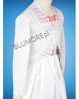 Białe bolerko dla dziewczynki na albę 110 - 152 Iwonka