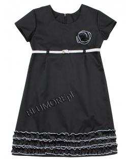 Czarna sukienka ze srebrnym paskiem 116 - 152 Greta