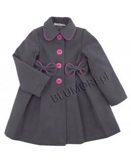 Szary z różowymi kokardkami płaszczyk dla dziewczynki 86 - 134 Kimi