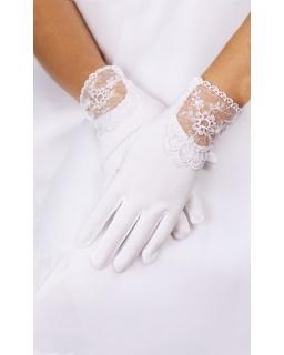 Przepiękne rękawiczki z koronką na komunię R05