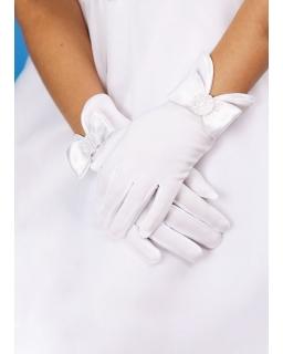 Białe rękawiczki komunijne dla dziewczynki R06