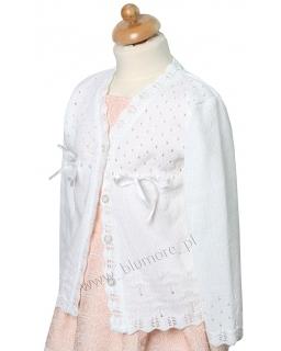 Biały sweterek dla dziewczynki 92 - 146 Żanetka