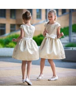 Złota sukienka na wesele dla dziewczynki 74 - 158 Nadia