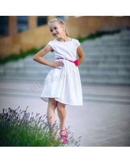 Sukienka ecru z paskiem i kwiatkiem 74 - 158 Amanda