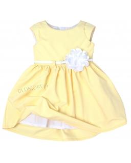 Elegancka bananowa sukienka z kwiatkiem 74 - 158 Samanta