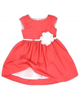 Elegancka morelowa sukienka z kwiatkiem 74 - 158 Samanta