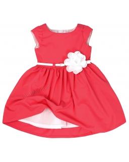 Elegancka malinowa sukienka z kwiatkiem 74 - 158 Samanta