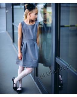 Modniarska sukienka galowa 110 - 164 Wiki szara