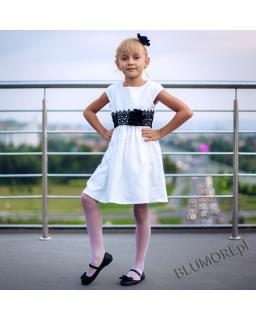 Sukienka ecru z czarną koronką 74 - 158 Patrycja