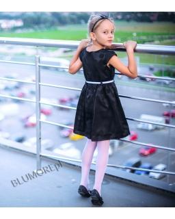 Śliczna sukienka ecru z czarną koronką 74 - 158 Patrycja
