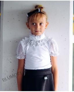 Elegancka bluzeczka z żabotem 128 - 152 Aurelia biała