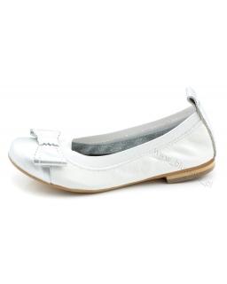 Wygodne baleriny na gumkach skórzane 31 - 36 BG01 biel i srebro