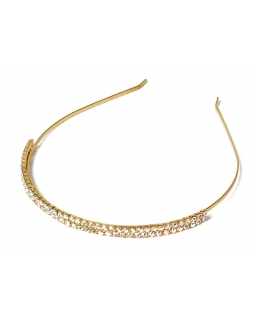 Złota metalowa opaska z diamentami