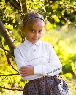 Bluzka dla dziewczynki z kołnierzykiem 134 - 158 Iwonka biała