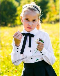 Elegancka bluzka z krawatką 134 - 158 Żanetka biała