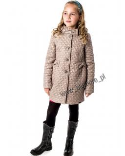 Płaszcz zimowy pikowany dla dziewczynki 128 - 158 Georgia beż