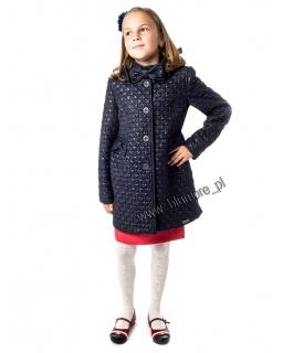 Płaszcz zimowy pikowany dla dziewczynki 128 - 158 Georgia granat