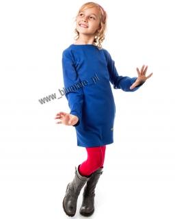 Sukienka dresowa z kieszeniami 110 - 158 Aleksja niebieska