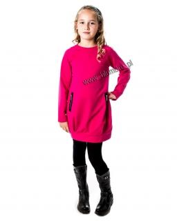 Sukienka dresowa z zamkami 134 - 158 Eliza różowa