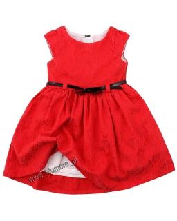 Elegancka sukienka z paskiem 74 - 140 Amanda czerwona
