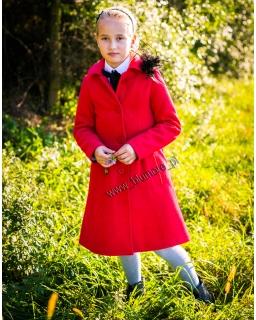 Prosty elegancki płaszczyk 128 - 158 Flavia czerwień