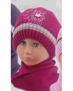 Ocieplany zestaw czapka i szalik na zimową porę 50 - 52