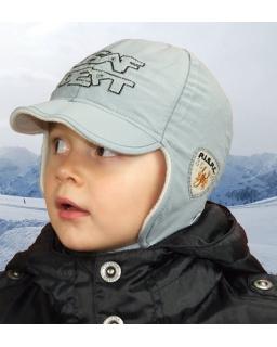 Szara ocieplana polarowym kożuszkiem czapka chłopięca 50