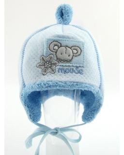Zimowa niebieska czapka z myszką 44 - 48