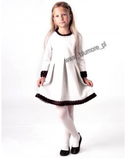 Sukienka wizytowa dla dziewczynki 128 - 152 Roksana ecru