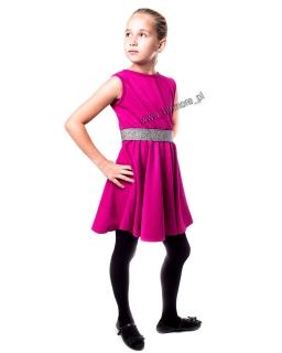 Połyskująca sukienka na dyskotekę 134 - 158 Nina amarant