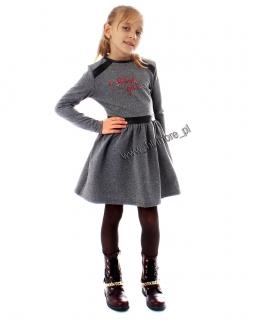 Czaderska sukienka z dresówki 116 - 146 Alina szara