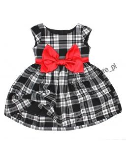 Sukienka dziewczęca z kokardą 74 - 140 Ksenia kratka