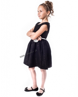 Piękna sukienka galowa 98 - 152 Amanda czarna z bielą