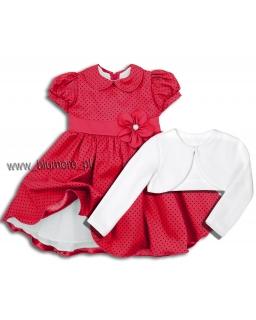 Piękna sukienka z bolerkiem 80 - 122 Amelka czerwona