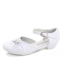 Śliczne buty komunijne na obcasie 31 - 36 bk01 białe