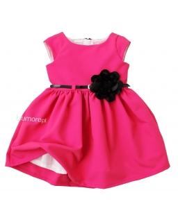 Sukienka z czarnym paskiem i kwiatkiem 62 - 152 Samanta malinowa