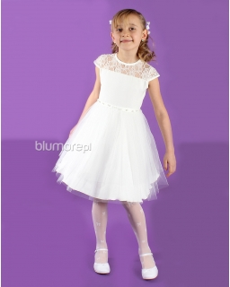 Piękna, prosta sukienka pokomunijna 134 - 158 Perła ecru