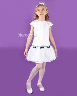 Elegancka i stylowa sukienka dziewczęca 128 - 152 Sofija biała
