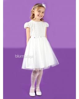 Wdzięczna i urocza sukienka w tiulami 128 - 152 Waleria ecru