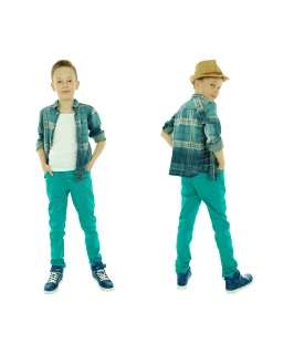 Super spodnie chłopięce z gumką w pasie 116 - 152 Kamil zielone