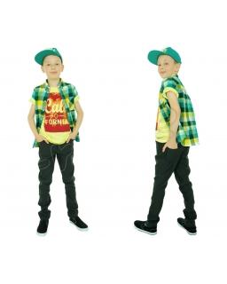 Popularne spodnie chłopięce ze slim nogawką 116 - 152 Kamil grafitowe