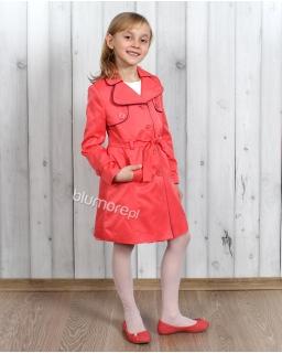 Piękne płaszcze dla dziewczynek 122 - 158 Korin koralowy