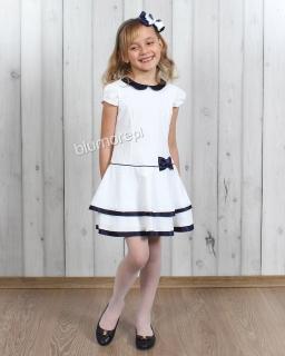 Ekskluzywna sukienka wizytowa 122 - 146 Blanka biel i granat