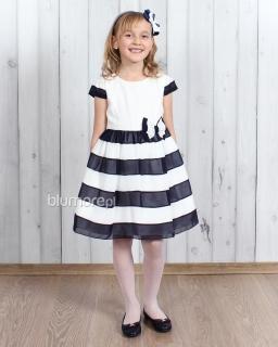 Niezwykła sukienka okolicznościowa 110 - 134 Serina biel i granat