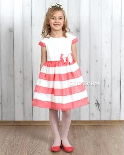 Przecudna sukienka na przyjęcie 110 - 134 Serina biel i koral
