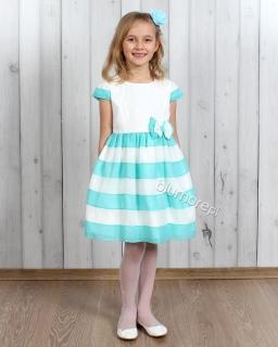 Eleganckie sukienki dziewczęce 110 - 134 Serina biel i mięta