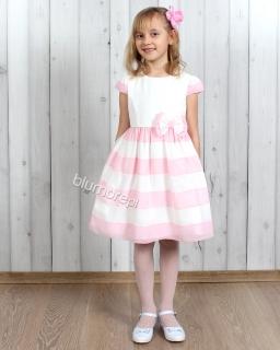 Słodka, zwiewna sukienka 110 - 134 Serina biel i róż