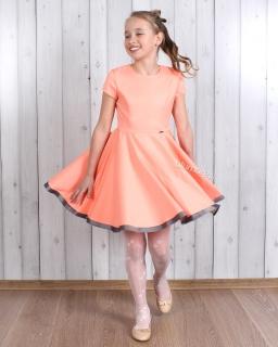 Szykowna sukienka szyta z koła 98 - 158 Oleńka morela